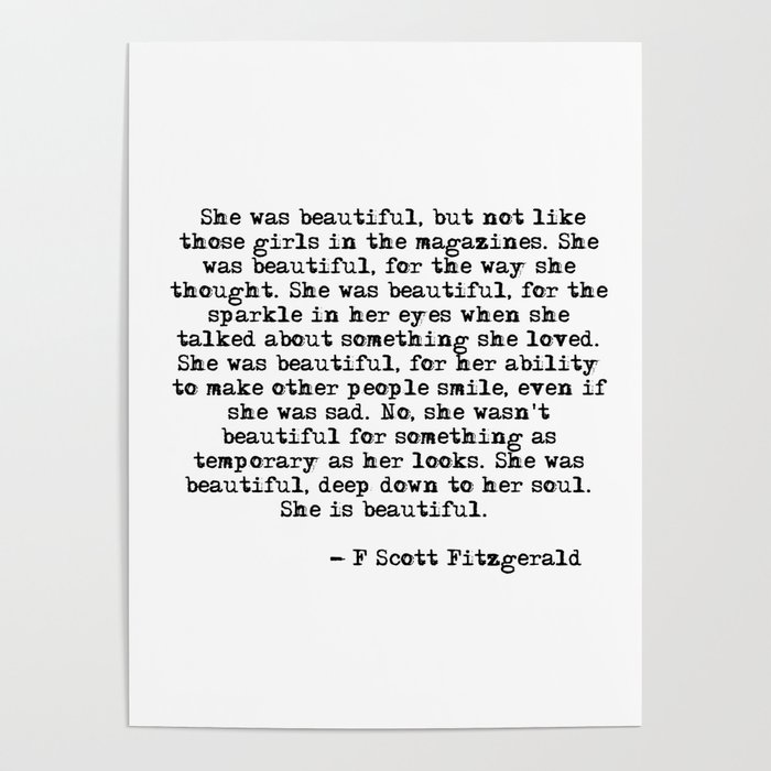 She was beautiful - Fitzgerald quote Poster by quoteme