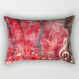 Piano Keyboard with red rose and musical notes Rectangular Pillow