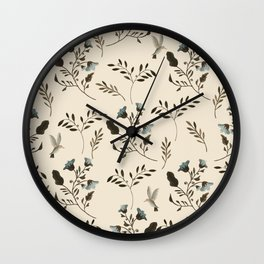 Ivory Cream and Bluebells and Bluebirds Floral Pattern Flowers in Blue and Bark Brown Wall Clock