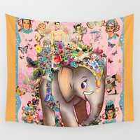 wedding Wall Tapestries featuring Wedding Elephant by Sissydude