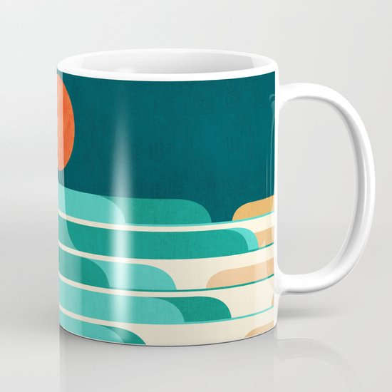 Chasing wave under the red moon Mug