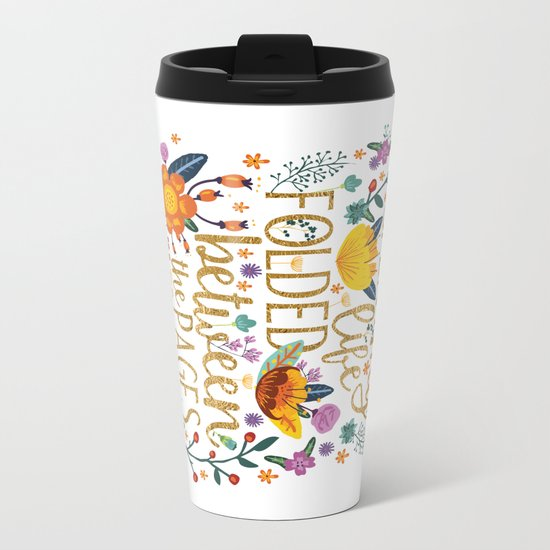 Folded Between the Pages of Books - Floral Metal Travel Mug