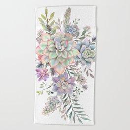 succulent watercolor 8 Beach Towel