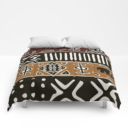 African mud cloth with elephants Comforters