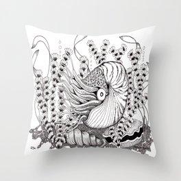 Zentangle Nautilus in the Ocean Illustration Throw Pillow