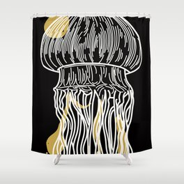 Electric Gold Jellyfish Uno Shower Curtain