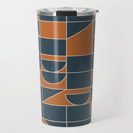 Classic Geometry Shapes in Navy and Tan Travel Mug