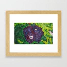 purple hibiskus surreal flower paint Framed Art Print