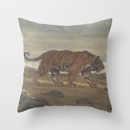 Vintage Illustration of a Striped Tiger (1875) Throw Pillow