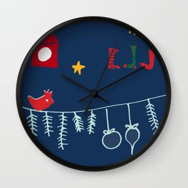 Holiday bird blue Wall Clock