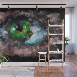 Big green eye. Abstract. Black background Wall Mural