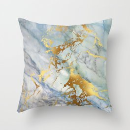Lovely Marble with Gold Overlay Throw Pillow