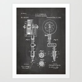 Tattoo Pen Patent - Tattooist Art - Black Chalkboard Art Print