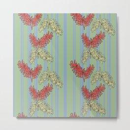 Striped Australian Floral Print Metal Print