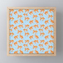 fantail goldfish on sky blue with bubbles Framed Mini Art Print