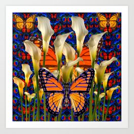 DECORATIVE WHITE CALLA LILIES & MONARCH BUTTERFLY GARDEN COLLAGE Art Print