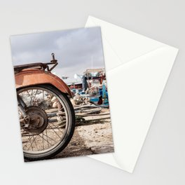 Moped in harbor Stationery Cards
