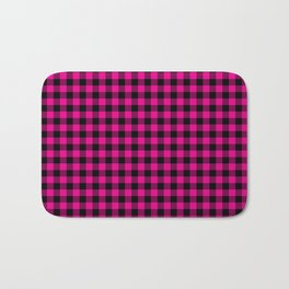Classic Hot Pink Country Cottage Summer Buffalo Plaid Bath Mat