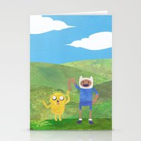 finn and jake Stationery Cards featuring Finn And Jake! by Ben Morgan