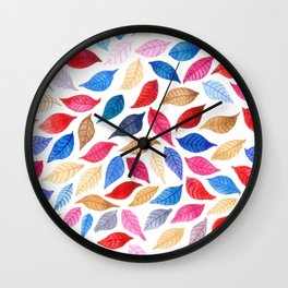 Colorful leaves pattern in watercolor Wall Clock