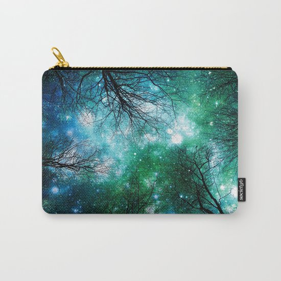 Black Trees Teal Green Space Carry-All Pouch