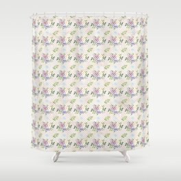 Roses & Forget Me Nots Polka Dots Yellow Shower Curtain