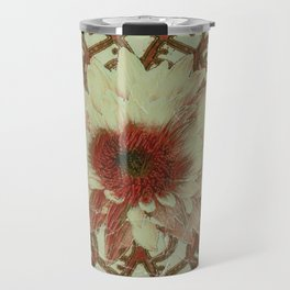 Grungy Floral Rustic Cream-Brown  Abstract Travel Mug