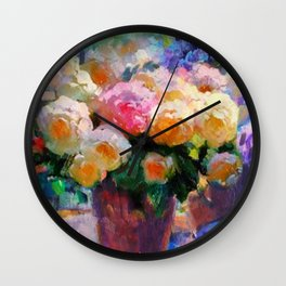May Roses Wall Clock
