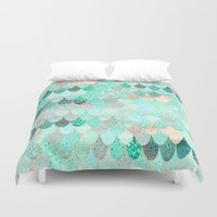 mermaid Duvet Covers featuring SUMMER MERMAID by Monika Strigel