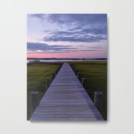 Pier Into The Sunset On Topsail Island Metal Print