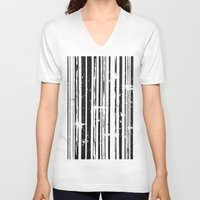stripe V-neck T-shirts featuring Stripe by Moe Notsu