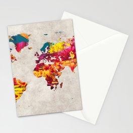World Map 55 Stationery Cards