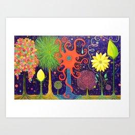 Vivacious Funky Foliage Art Print