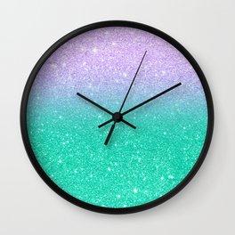 Mermaid purple teal aqua FAUX glitter ombre gradient Wall Clock