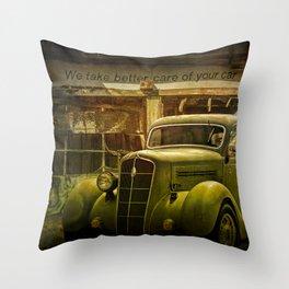 Service Station Automobile Car Care Throw Pillow