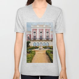 Palace Portugal Fountains Pousada Palacio De Estoi Faro Gardens Bush Cities Shrubs Unisex V-Neck