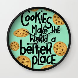 Cookies make the world a better place // cookie art Wall Clock