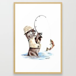 """"""" Natures Fisherman """" fishing river otter with trout Framed Art Print"""