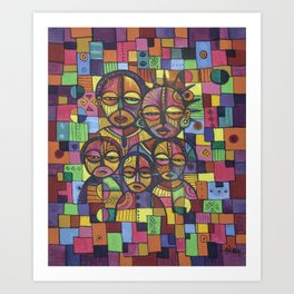 The Happy Family rainbow painting from Africa Art Print