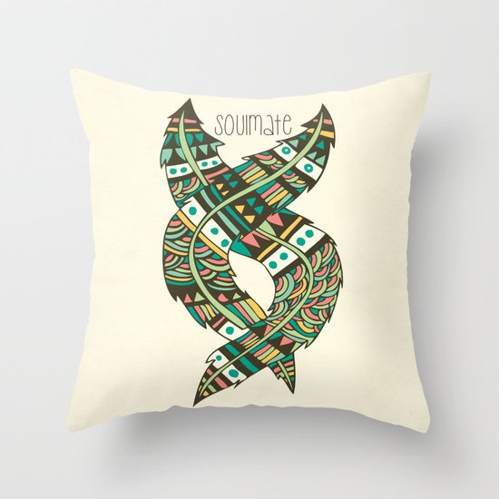 Soulmate Feathers Throw Pillow