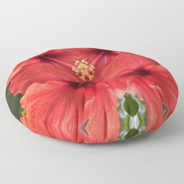 Red Hibiscus  Floor Pillow