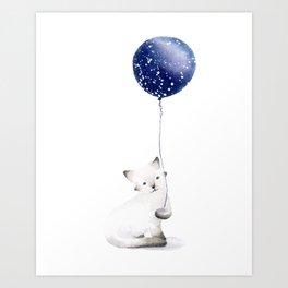 Cat With Balloon Art Print