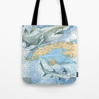 cuba Tote Bags featuring Cuba Sharks by Carly Mejeur