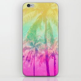 Pink Yellow Ombre Tropical Palm Trees iPhone Skin