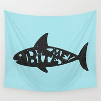 shark Wall Tapestries featuring SHARK! by Dylan Morang