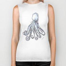 Octopus Watercolor Sketch Biker Tank