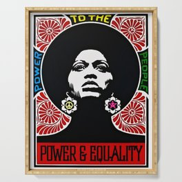 Rainbow Motif - Angela Davis - Power & Equality - Power to the People Vintage Poster Serving Tray
