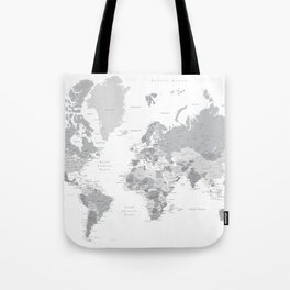 """Gray world map with cities, states and capitals, """"in the city"""" Tote Bag"""