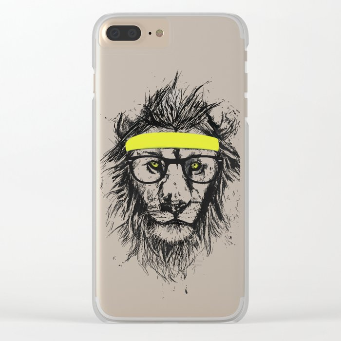hipster lion Clear iPhone Case