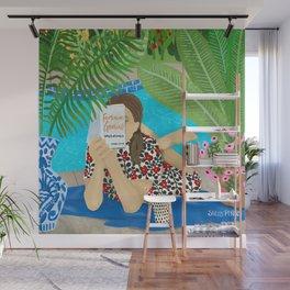 Feminine Genius Girl Reading by Tropical Pool Wall Mural